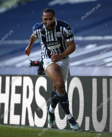 Matt Phillips of West Bromwich celebrates after scoring the 2-0 by penalty during the English Premier League match between West Bromwich Albion and Southampton in West Bromwich, Britain, 12 April 2021.