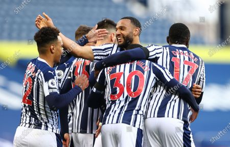 Matt Phillips (back-C) of West Bromwich celebrates with team mates after scoring the 2-0 during the English Premier League match between West Bromwich Albion and Southampton in West Bromwich, Britain, 12 April 2021.