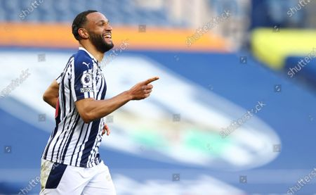 Matt Phillips of West Bromwich celebrates after scoring the 2-0 during the English Premier League match between West Bromwich Albion and Southampton in West Bromwich, Britain, 12 April 2021.