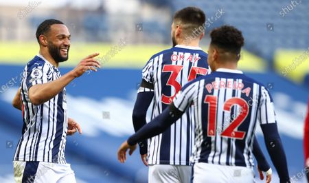 Matt Phillips (L) of West Bromwich celebrates with team mates after scoring the 2-0 during the English Premier League match between West Bromwich Albion and Southampton in West Bromwich, Britain, 12 April 2021.