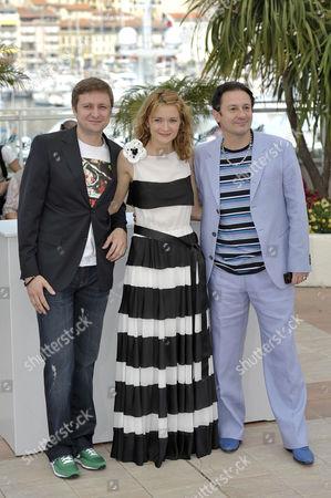 Artem Menshikov, Nadezhda Mikhalkov and Oleg Menshikov