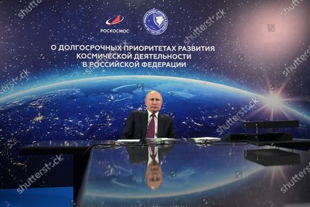 Russian President Vladimir Putin holds a conference on the development of the space industry, in the city of Engels, on Cosmonautics Day in Saratov region, Russia, 12 April 2021. Russia marks 60th anniversary of the first human flight into space. On 12 April 1961, Soviet cosmonaut Yuri Gagarin performed a space flight aboard the Vostok-1 spacecraft, orbiting Earth in 108 minutes and landing safely.