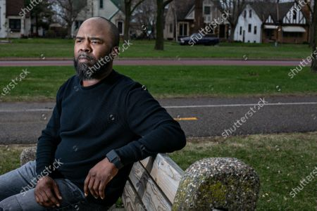 Jamar Nelson, community activist, poses for a portrait on Wednesday, April 7, 2021 in Minneapolis, MN. (Jason Armond / Los Angeles Times)