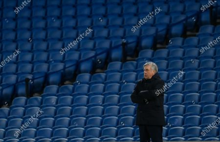 Everton's manager Carlo Ancelotti watches the game during the English Premier League match between Brighton & Hove Albion and Everton in Brighton, Britain, 12 April 2021.
