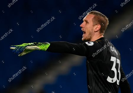 Everton's goalkeeper Robin Olsen reacts during the English Premier League match between Brighton & Hove Albion and Everton in Brighton, Britain, 12 April 2021.