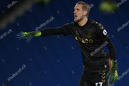 Everton's goalkeeper Robin Olsen reacts during the English Premier League soccer match between Brighton and Everton at the Falmer Stadium in Brighton, England