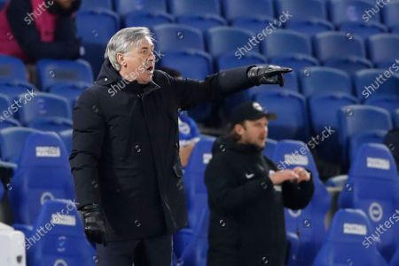Everton's manager Carlo Ancelotti gestures during the English Premier League soccer match between Brighton and Everton at the Falmer Stadium in Brighton, England
