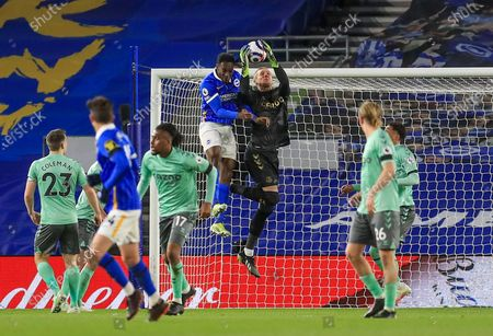 Stock Photo of Everton goalkeeper Robin Olsen (33) saves from Brighton and Hove Albion forward Danny Welbeck (18) during the Premier League match between Brighton and Hove Albion and Everton at the American Express Community Stadium, Brighton and Hove
