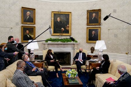 Editorial image of Biden and Harris Meet with a bipartisan group of Members of Congress to discuss the American Jobs Plan, Washington, District of Columbia, USA - 12 Apr 2021