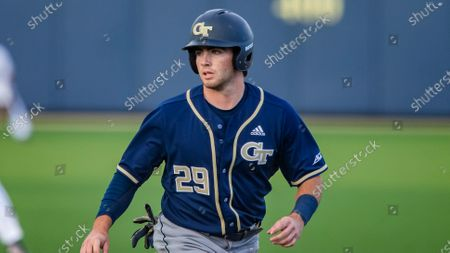 Georgia Tech's John Anderson leads off at first base during an NCAA baseball game against Notre Dame, in South Bend, Ind