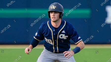 Georgia Tech's John Anderson leads off at second base during an NCAA baseball game against Notre Dame, in South Bend, Ind