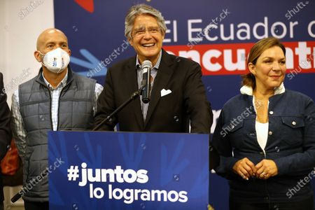 Ecuador's president-elect, Guillermo Lasso, holds a press conference at the Dann Carlton hotel in Quito, Ecuador, 12 April 2021. With 97.99% of the validated minutes, Lasso has 52.48% of the votes, while his rival Andres Arauz, supported by former President Rafael Correa, accumulates 47.52%.