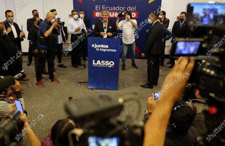 Stock Picture of Ecuador's president-elect, Guillermo Lasso, holds a press conference at the Dann Carlton hotel in Quito, Ecuador, 12 April 2021. With 97.99% of the validated minutes, Lasso has 52.48% of the votes, while his rival Andres Arauz, supported by former President Rafael Correa, accumulates 47.52%.