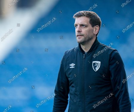 Jonathan Woodgate Bournemouth manager watches the action from the sidelines; The John Smiths Stadium, Huddersfield, Yorkshire, England; English Football League Championship Football, Huddersfield Town versus Bournemouth.