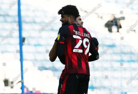 Dominic Solanke of Bournemouth celebrates scoring a goal to make it 0-2 with Philip Billing