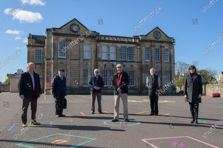 Stock Photo of Bill Grant, Michael Hitchon, stanely Sarsfield, Jimmy Begg, Nicholas Kilpatrick, Iona Mcdonald.Museum of Ayrshire group, outside the old Ayr Grammar School, are hoping to see the building transformed into a new tourist hub.