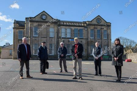 Stock Image of Bill Grant, Michael Hitchon, stanely Sarsfield, Jimmy Begg, Nicholas Kilpatrick, Iona Mcdonald.Museum of Ayrshire group, outside the old Ayr Grammar School, are hoping to see the building transformed into a new tourist hub.