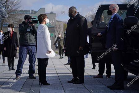 German Defense Minister Annegret Kramp-Karrenbauer (C-L) greets new US Defense Secretary Lloyd Austin (C-R) at the Defense Ministry amidst the coronavirus pandemic in Berlin, Germany, 13 April 2021. Austin is in Germany as part of a tour in the region that includes stops in Israel, Belgium and the United Kingdom. In Germany he will also visit US military installations.