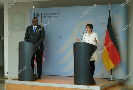Stock Image of German Defense Minister Annegret Kramp-Karrenbauer (R) and the new US Defense Secretary Lloyd Austin address the media following their talks at the Defense Ministry in Berlin, Germany, 13 April 2021. Austin announced that the United States will deploy an additional 500 military personnel to Germany. Austin is in Germany as part of a tour in the region that includes stops in Israel, Belgium and the United Kingdom. In Germany he will also visit U.S. military installations.