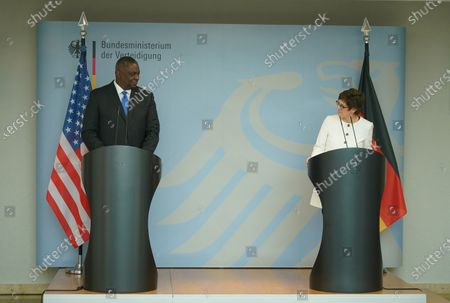 German Defense Minister Annegret Kramp-Karrenbauer (R) and the new US Defense Secretary Lloyd Austin address the media following their talks at the Defense Ministry in Berlin, Germany, 13 April 2021. Austin announced that the United States will deploy an additional 500 military personnel to Germany. Austin is in Germany as part of a tour in the region that includes stops in Israel, Belgium and the United Kingdom. In Germany he will also visit U.S. military installations.