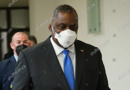 New US Defense Secretary Lloyd Austin departs after attending a press conference with German Defense Minister Annegret Kramp-Karrenbauer (unseen) following their talks at the Defense Ministry in Berlin, Germany, 13 April 2021. Austin announced that the United States will deploy an additional 500 military personnel to Germany. Austin is in Germany as part of a tour in the region that includes stops in Israel, Belgium and the United Kingdom. In Germany he will also visit U.S. military installations.