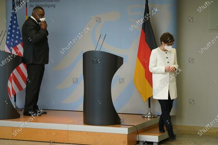 German Defense Minister Annegret Kramp-Karrenbauer (R) and new US Defense Secretary Lloyd Austin depart after addressing the media following following their talks at the Defense Ministry in Berlin, Germany, 13 April 2021. Austin announced that the United States will deploy an additional 500 military personnel to Germany. Austin is in Germany as part of a tour in the region that includes stops in Israel, Belgium and the United Kingdom. In Germany he will also visit U.S. military installations.