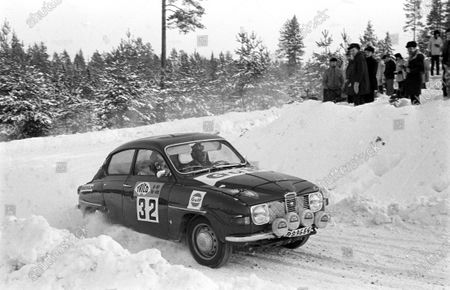 Stock Image of DECEMBER 07: Olle Dahl / Lars-Erik Haag, Saab 96 V4 during the Swedish Rally on December 07, 2017. (Photo by LAT Images)