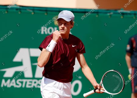 Jannik Sinner of Italy reacts during his first round match against Albert Ramos-Vinolas of Spain at the Monte-Carlo Rolex Masters tournament in Roquebrune Cap Martin, France, 13 April 2021.