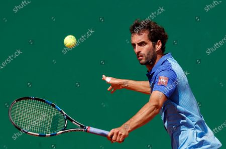 Stock Image of Albert Ramos-Vinolas of Spain in action during his first round match against Jannik Sinner of Italy at the Monte-Carlo Rolex Masters tournament in Roquebrune Cap Martin, France, 13 April 2021.