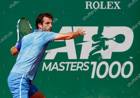 Albert Ramos-Vinolas of Spain in action during his first round match against Jannik Sinner of Italy at the Monte-Carlo Rolex Masters tournament in Roquebrune Cap Martin, France, 13 April 2021.