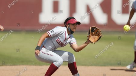 Allyson Ferreira of Santa Clara fields the ball against Loyola Marymount at second base during an NCAA softball game on in Santa Clara, Calif