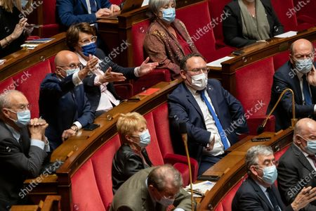 Stock Photo of Eric Ciotti, Annie Genevard and Damien Abad during the weekly session of questions to the government at the French National Assembly.