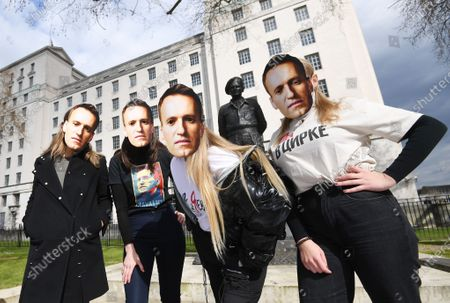 """Supporters of detained Russian opposition leader, Alexei Navalny stage a demonstration organized by the group """"Art of Rebel"""" outside Downing Street in London, Britain, 13 April 2021."""