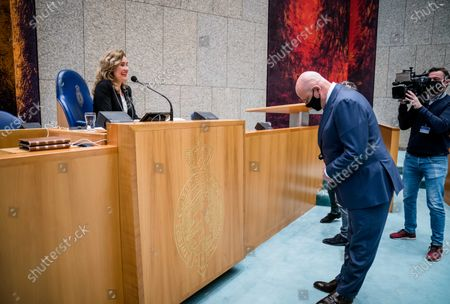 Dutch Chamber President Vera Bergkamp (L) and outgoing Minister of Justice and Security Ferdinand Grapperhaus (CDA) prior to a Question Time in the Lower House in The Hague, The Netherlands, 13 April 2021.