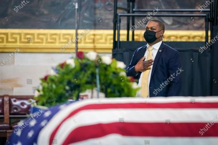 """Capitol Police officer Eugene Goodman, pays his respects to the late U.S. Capitol Police officer William """"Billy"""" Evans, who lies in honor in the Rotunda at the U.S. Capitol, in Washington"""
