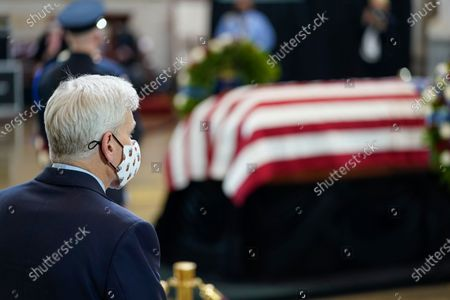 """Stock Image of Sen Bill Cassidy, R-La., pay his respects to slain U.S. Capitol Police officer William """"Billy"""" Evans lies in honor during a ceremony at the Capitol in Washington"""