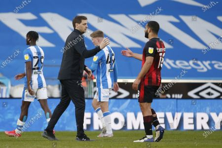 Jonathan Woodgate Interim Manager of Bournemouth congratulates Cameron Carter-Vickers of Bournemouth  at full time during the EFL Sky Bet Championship match between Huddersfield Town and Bournemouth at the John Smiths Stadium, Huddersfield