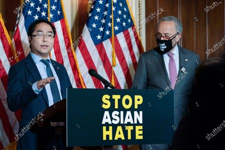 Rep. Andy Kim, D-N.J., accompanied by Senate Majority Leader Chuck Schumer, D-N.Y., speaks during a news conference on Capitol Hill, in Washington