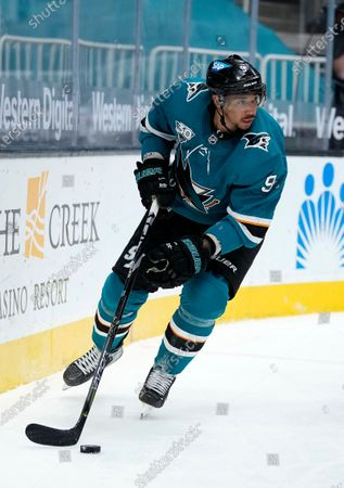 San Jose Sharks left wing Evander Kane (9) against the Anaheim Ducks during the third period of an NHL hockey game, in San Jose, Calif
