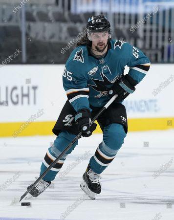 San Jose Sharks defenseman Erik Karlsson (65) against the Anaheim Ducks during the third period of an NHL hockey game, in San Jose, Calif