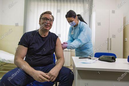 (210413) - BEIJING, April 13, 2021 (Xinhua) - Serbian President Aleksandar Vucic receives an injection of China's Sinopharm vaccine against COVID-19 in Majdanpek, Serbia, April 6, 2021.