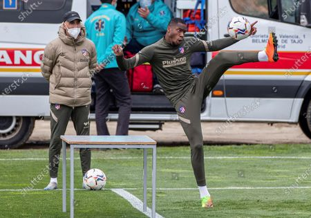 Atletico Madrid's Geoffrey Kondogbia attends a training session of the team at Wanda sports city in Majadahonda, Madrid, Spain, 13 April 2021. Atletico Madrid will face Eibar on 18 April on a Spanish LaLiga soccer match.
