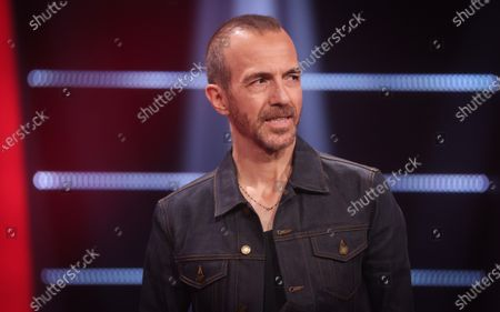 Singer Calogero Maurici pictured during the final of television show 'The Voice Belgique', by Belgian French-speaking television station RTBF, Tuesday 13 April 2021 in Liege Mediacite.