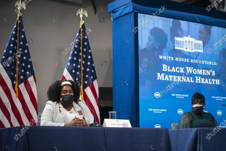 Erica McAfee (L), Founder and CEO of Sisters in Loss, speaks during a roundtable discussion on Black maternal health hosted by Vice President Kamala Harris and White House Domestic Policy Advisor Susan Rice, in the South Court Auditorium in Washington, D.C., USA, 13 April 2021.