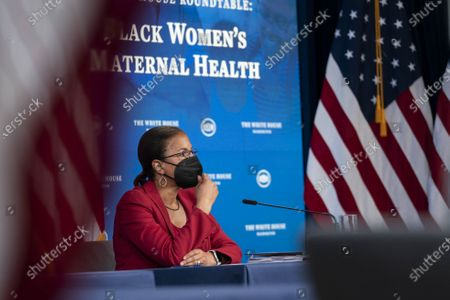 White House Domestic Policy Advisor Susan Rice listens during a roundtable discussion on Black maternal health hosted by Vice President Kamala Harris in the South Court Auditorium