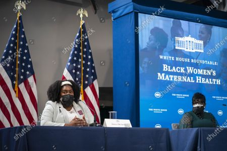Erica McAfee, Founder and CEO of Sisters in Loss, speaks during a roundtable discussion on Black maternal health hosted by Vice President Kamala Harris and White House Domestic Policy Advisor Susan Rice in the South Court Auditorium