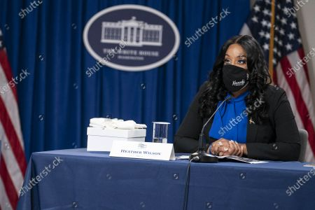 Heather Wilson, Executive Director and Founder of Kennedy's Angel Gowns, speaks during a roundtable discussion on Black maternal health hosted by Vice President Kamala Harris and White House Domestic Policy Advisor Susan Rice in the South Court Auditorium