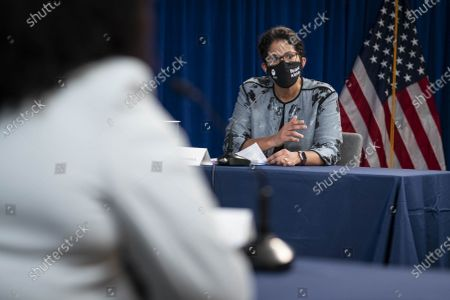 Stock Photo of Dr. Elizabeth A. Howell, MD, MPP, Chair of the Department of Obstetrics & Gynecology at Perelman School of Medicine at the University of Pennsylvania, speaks during a roundtable discussion on Black maternal health hosted by Vice President Kamala Harris and White House Domestic Policy Advisor Susan Rice in the South Court Auditorium