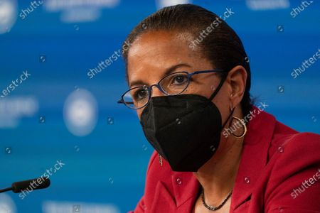 White House Domestic Policy director Susan Rice, speaks during a roundtable discussion attended by Vice President Kamala Harris, highlighting the disparities that Black women face in maternal health at the Eisenhower Executive Office Building on the White House complex in Washington