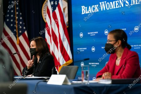 Vice President Kamala Harris, left, and White House Domestic Policy director Susan Rice, participate in a roundtable discussion highlighting the disparities that Black women face in maternal health at the Eisenhower Executive Office Building on the White House complex in Washington
